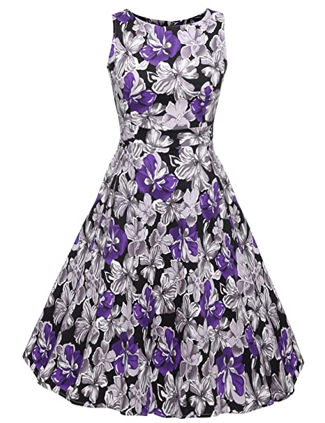 c843ddb2402 ACEVOG Vintage 1950 s Floral Spring Garden Party Picnic Dress Party  Cocktail Dress (S