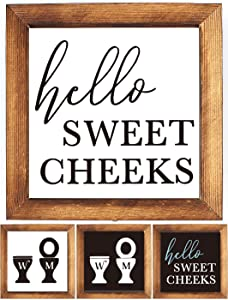 KU-DaYi Wood Framed Block Sign -Hello Sweet Cheeks, Funny Bathroom Quote, Funny Rustic Farmhouse Guest Bathroom Toilet Sign Decor