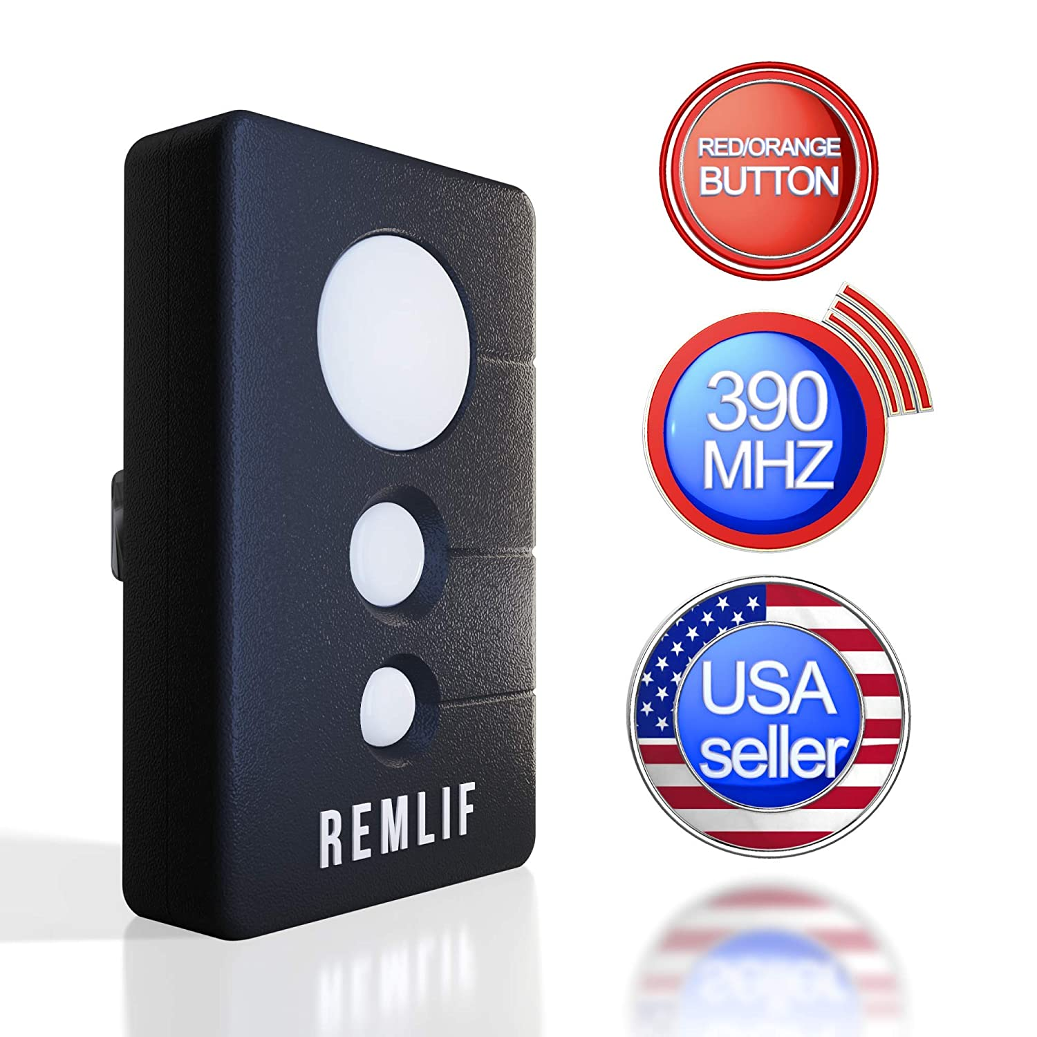 Remlif Garage Door Opener Remote Control Compatible 390mhz Replacement LiftMaster 970LM 971LM 972LM Craftsman 139.53681b Chamberlain 953CB Includes Visor Clip with Red Orange Learn Button