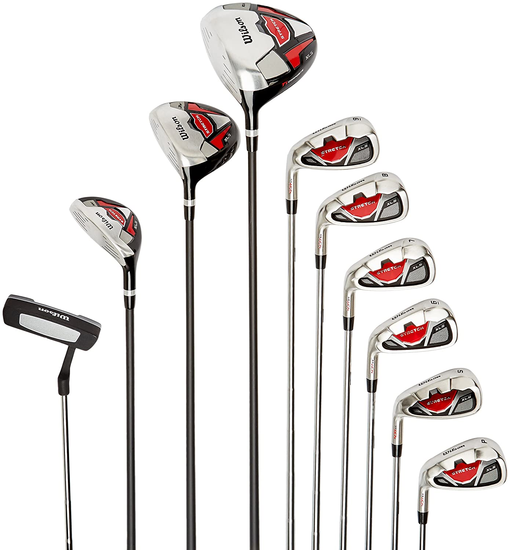 Wilson Set Completo para Principiantes, 10 Palos de Golf con Bolsa de Transporte, Hombre, Stretch XL, Negro/Gris/Rojo