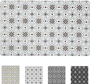 QSY Home Kitchen Anti Fatigue Floor Mats 18x30x1/2-Inch Comfort Standing Rugs for Laundry Bath Room Pvc Foam Bevel Edges Non-Slip Waterproof Mats, Grey/Brown