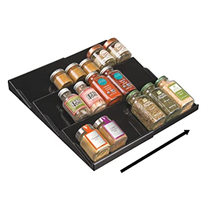 MDesign Adjustable, Expandable Spice Rack Drawer Organizer Tray Insert For  Kitchen Cabinet Drawers   3