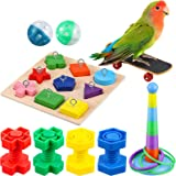 6 Pieces Bird Training Toys Parrot Intelligence Toy Parrot Wooden Block Puzzles Toy Stacking Rings Toy Mini Parrot Skateboard