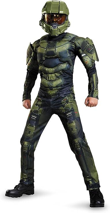 Amazon.com: Master Chief Classic Muscle Costume, Medium (7-8 ...