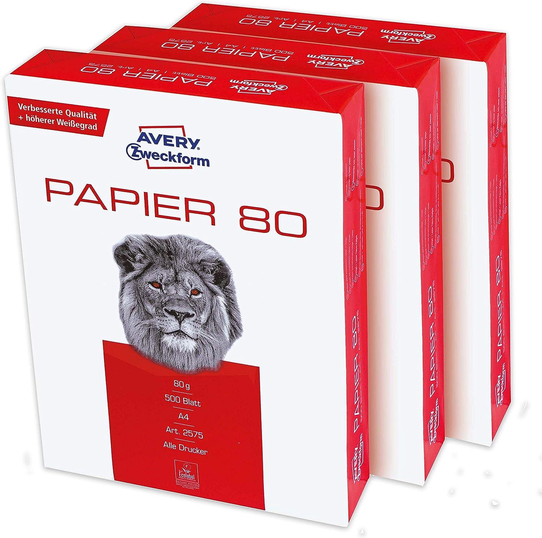 Avery Zweckform 2575 - Papel para impresora (1500 hojas, 80 g/m2, DIN A4, 1 caja con 3 paquetes), color blanco: Amazon.es: Oficina y papelería