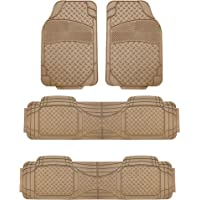 FH Group F11307BEIGE-3ROW Beige-3 Row F11307BEIGE Trim to Fit Weather SUV Floor Mats
