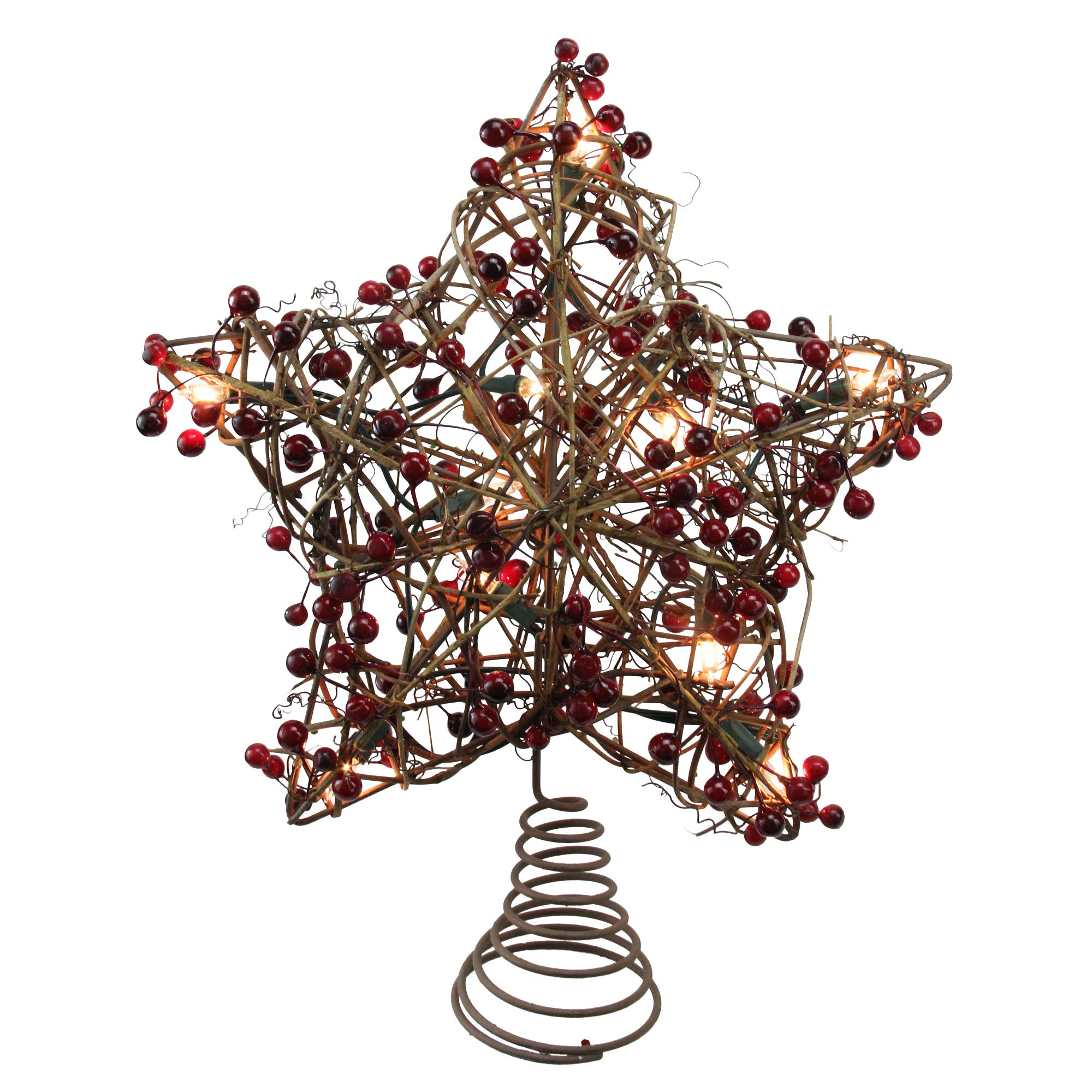 Northlight 13.5'' Brown Rattan with Red Berries Star Christmas Tree Topper - Clear Lights