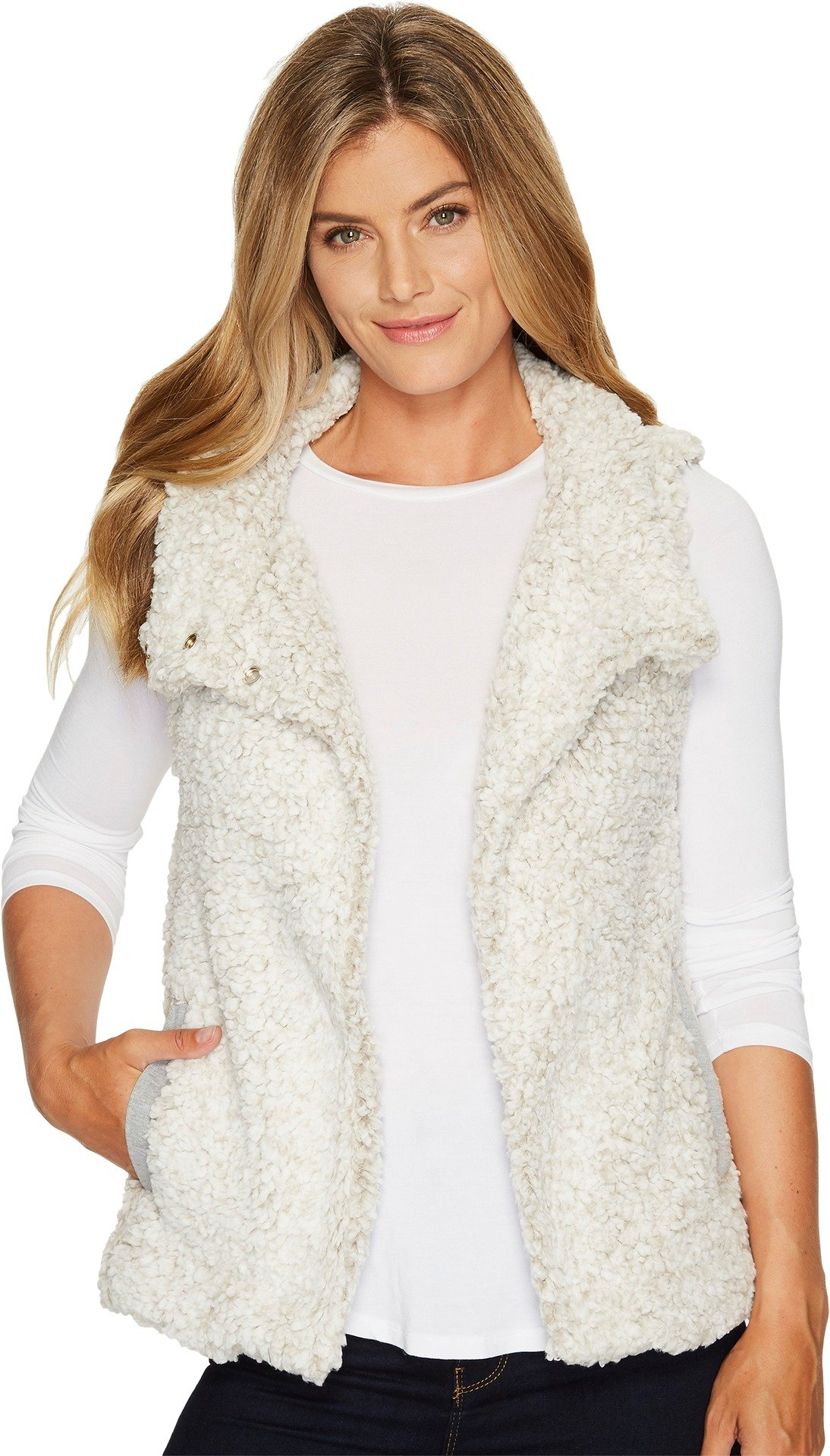 Dylan by True Grit Women's Frosty Tipped Pile Cozy Vest with Knit Lining Putty Small