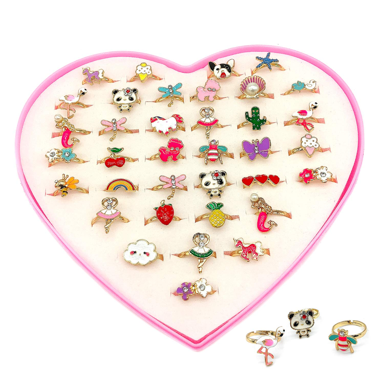 Elesa Miracle 36pcs Children Kids Little Girl Adjustable Jewelry Rings in Box, Mermaid Puppy Panda Unicorn Flamingo Girl Pretend Play Dress up Rings by Elesa Miracle