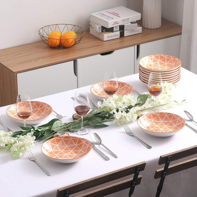 21.5 * 21.5 * 4.5 12-Piece Square Porcelain Soup Plate Set Soup Bowl Snack Plate Deep Plate Set Vancasso Series SAYUKI