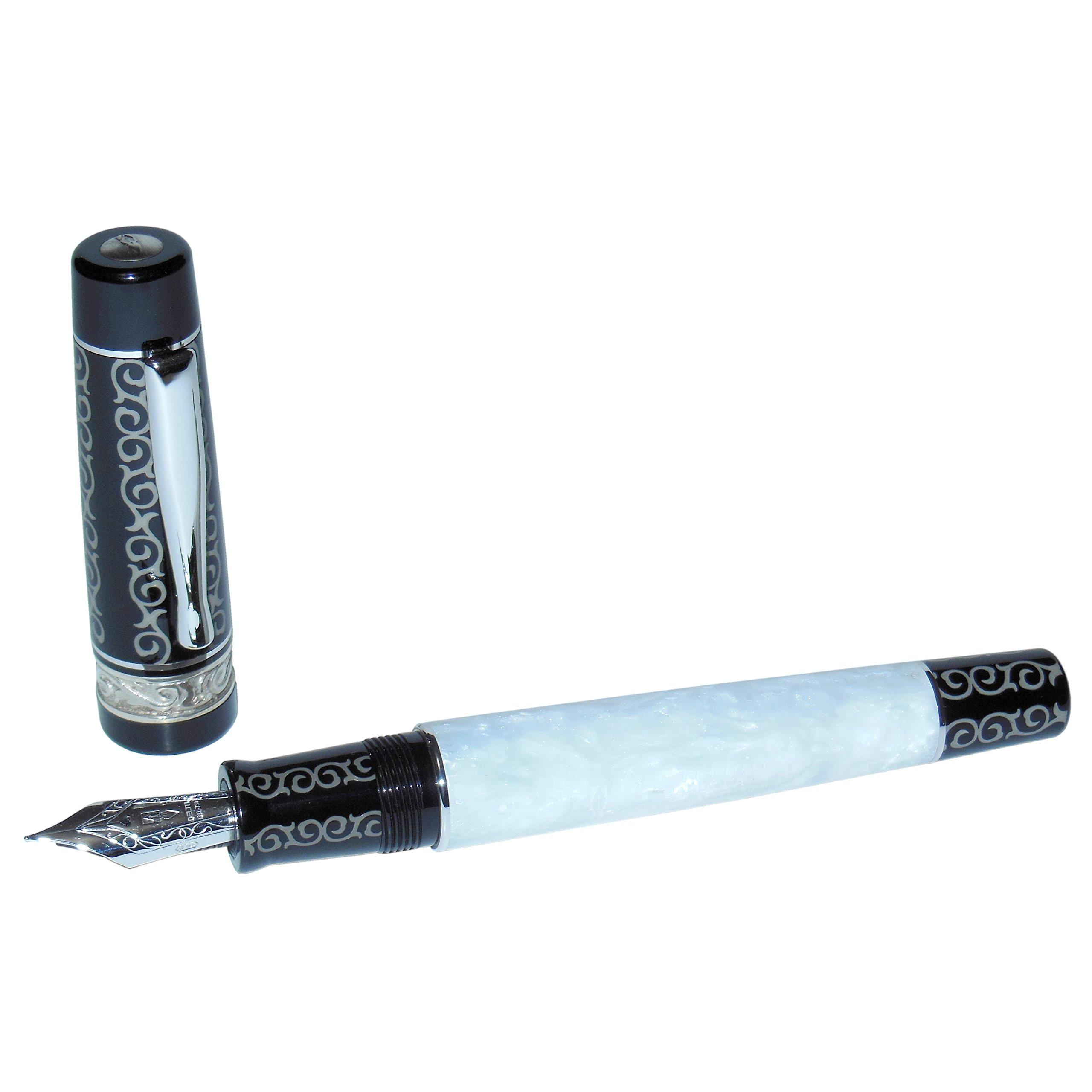 Delta Barocca Fountain Pen, White/Black, Sterling Silver Trim, 18K Gold Fine Nib
