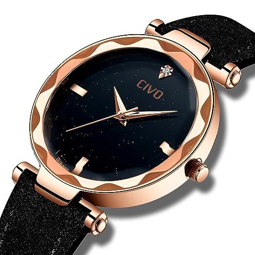 11c2252d7193 CIVO Relojes para Mujer Reloj Damas Señoras Lujo Impermeable Fino Reloj de  Cuero Minimalista Moda Calendario
