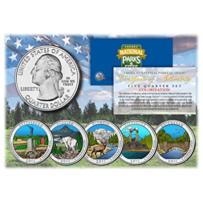 Merrick Mint 2011 America The Beautiful Colorized Quarters U.S. Parks 5-Coin Set w/Capsules: Toys & Games