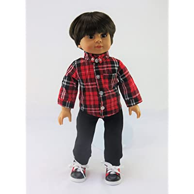 American Fashion World Red and Black Button Up with Pants: Toys & Games