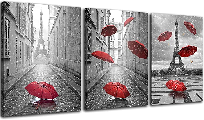 NAN Wind 3 Panels Modern Giclee Canvas Prints Paris Black and White with Eiffel Tower Red Umbrellas Flying Wall Art Landscape Wall Decor Paintings on Canvas Framed Ready to Hang for Home Decor