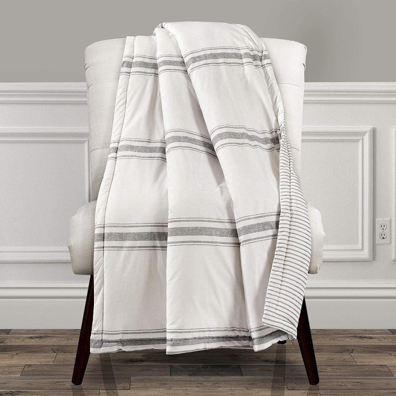 Lush Decor Farmhouse Stripe Throw Blanket, 60