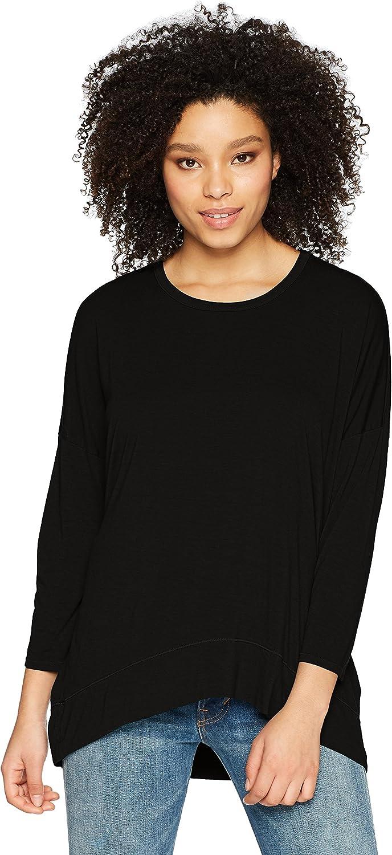Three Dots Womens Vintage Jersey 3//4 SLV Short Loose Top Shirt