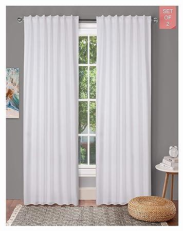 Tab Top Curtains,Farm House Curtain,Cotton Curtains,Curtain 2 Panel  sets,Window Curtain Panel in Textured Cotton 50x108 White,Reverse window ...
