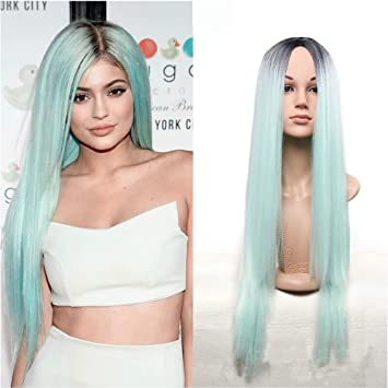 Royalvirgin Kylie Jenner Christmas Mint Green Ombre Wig 26Inch Long Black Ombre Green Straight Synthetic Wig
