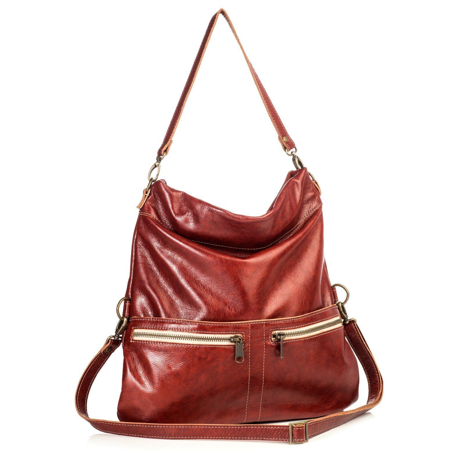 Rust Supple Italian Leather Medium Crossbody Bag