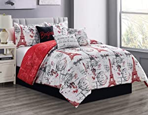Sapphire Home 7 Piece King Comforter Set with Shams Bedskirt Cushions, Paris Eiffel Tower Theme Bed Cover Bed in a Bag, Red White, 7pc Comforter King Paris Red