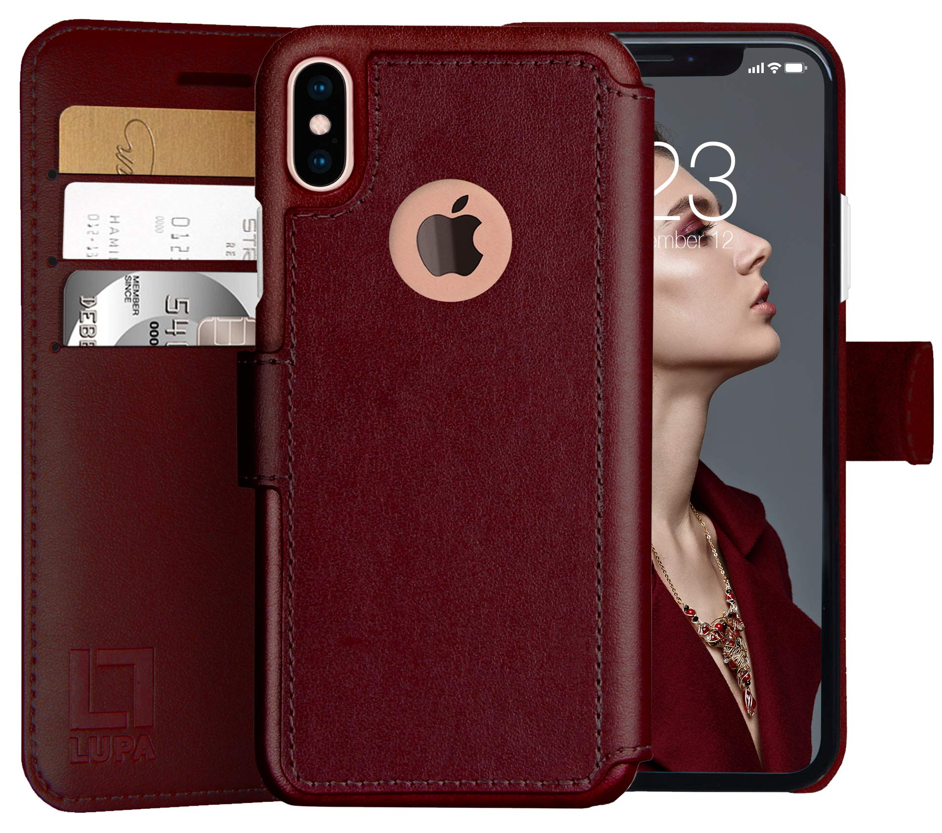 LUPA iPhone Xs Wallet case, iPhone X Wallet Case, Durable and Slim, Lightweight with Classic Design & Ultra-Strong Magnetic Closure, Faux Leather, Burgundy, for Apple iPhone Xs/X