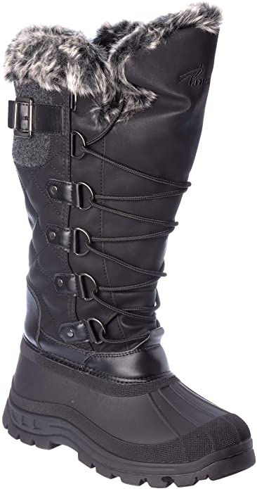 48d58a55fe2b Arctic Womens Winter Boots Warm-Lining Cold-Weather Water-Resistant 3M  Thinsulate Black