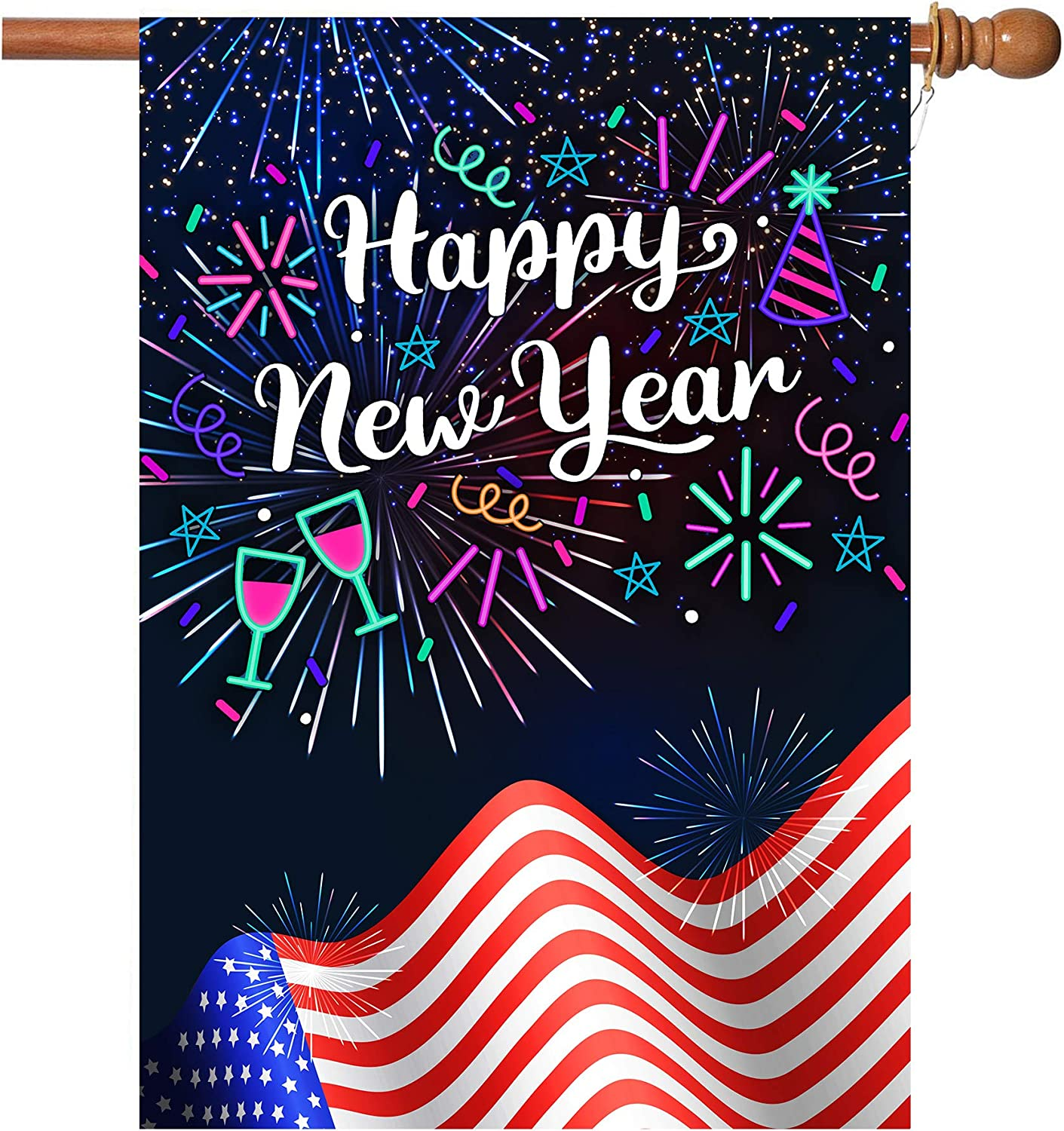 New Years Flag,Happy New Year Garden Flag 28 x 40 Inch Double Sided Fireworks Happy New Year House Flag for New Year Greettings or Decoration with 2 Grommets