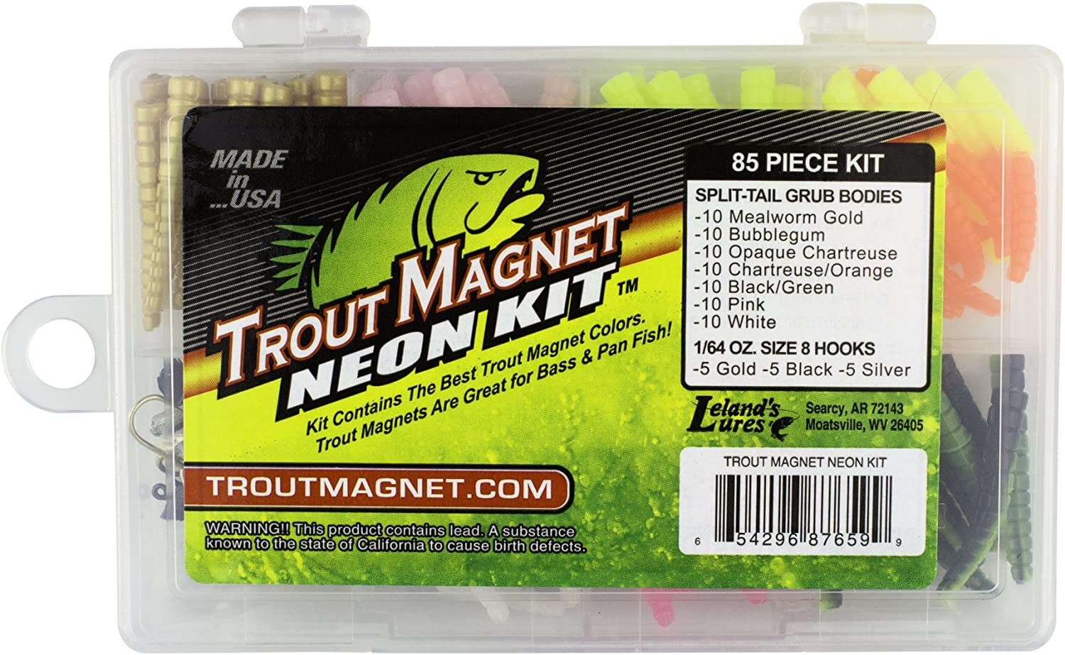 Trout Magnet Neon Kit - 70 Grub Bodies and 15 Size 8 Hooks.