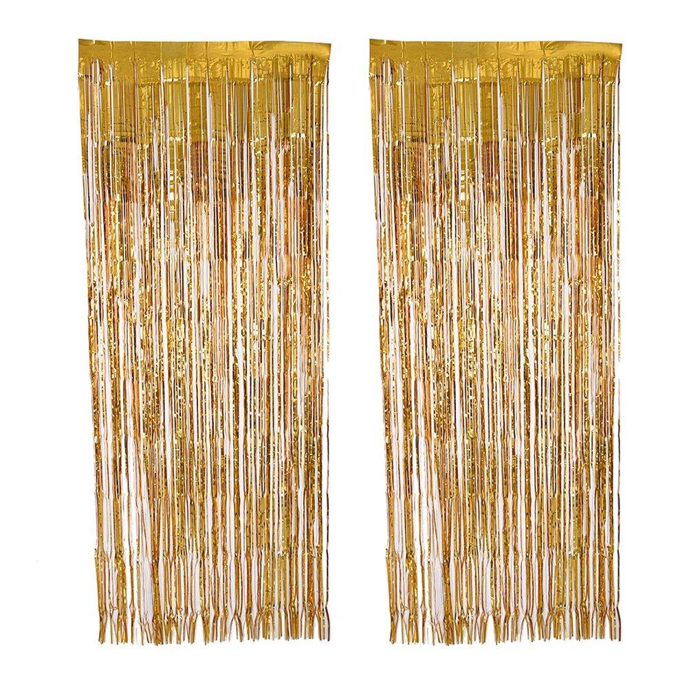 TOYMYTOY Tenda a frange d'oro per decorazione di 1 x 3 M 2PCS