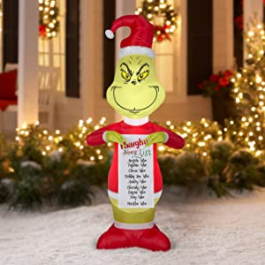 Dr. Seuss The Grinch Inflatable Naughty List Christmas Holiday Lawn Decor 5.5ft Tall by Gemmy Industries Airblown Lights Up