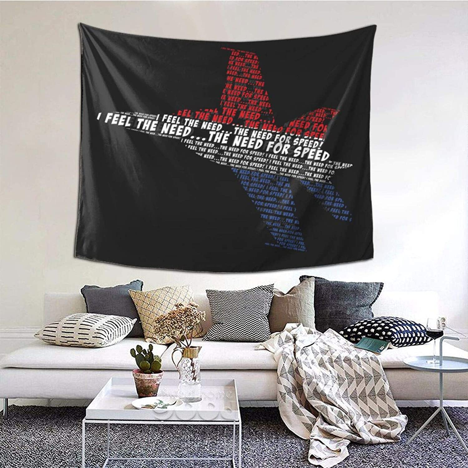 Classic Top Gun The Need For Speed Tapestries With Art Nature Home Stylish Wall Hangings Tapestry Bedroom Party Decor (60 X 51 Inch)