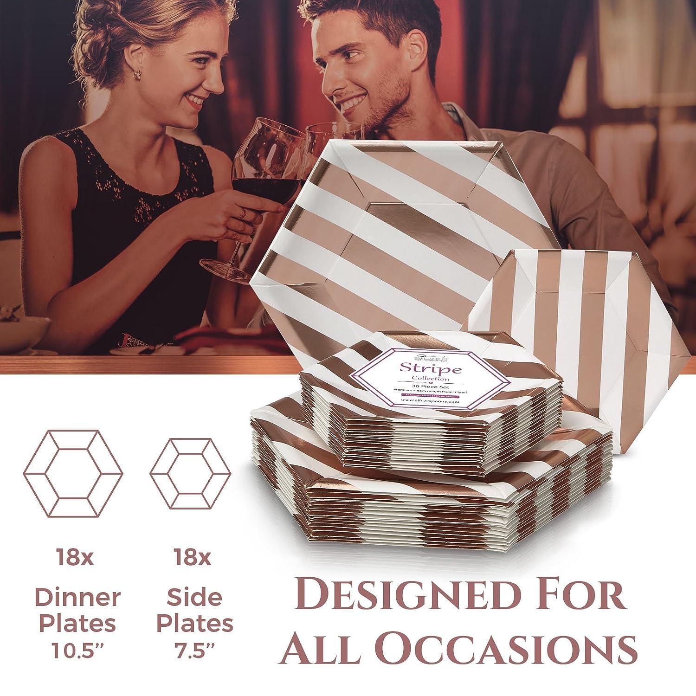 Einweg-Beilagenteller aus schwerem Papiermaterial 24 St/ück Geschirr 18 Servings gold