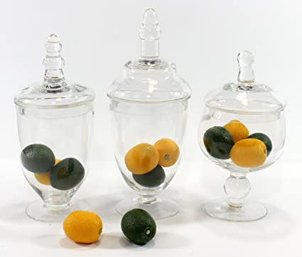 Set Of Three 3 Mini Clear Glass Apothecary Jars Filled With