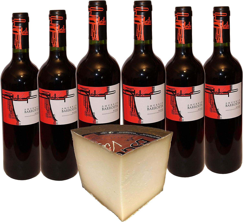 Amurrio Barroeta Vino Tinto Denominación de Origen Rioja - Caja de 6 Botellas x 750 ml - Cuarto de Queso Flor de Esgueva Elaborado con leche cruda o pasteurizada. Peso Aproximado 800gr