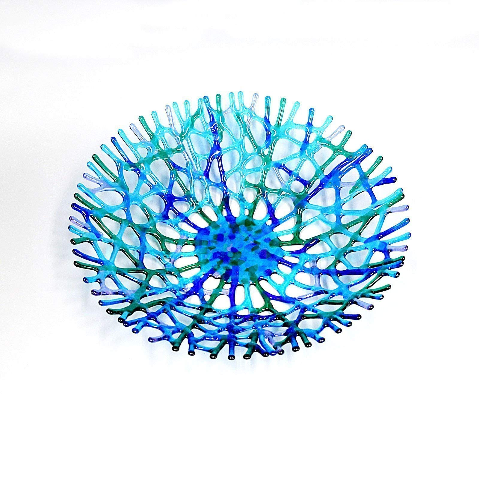 Lacy Glass Art Sea Coral Decorative Fruit Bowl 14'' in Turquoise Blue Lavender Aquamarine Green