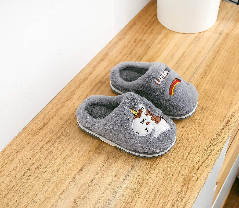 HausFine Hausschuhe Pl/üsch W/ärme Weiche Hausschuhe rutschfeste Pantoffeln Pantoletten Kuschelige Einhorn Hausschuhe f/ür M/ädchen Jungen Kinder
