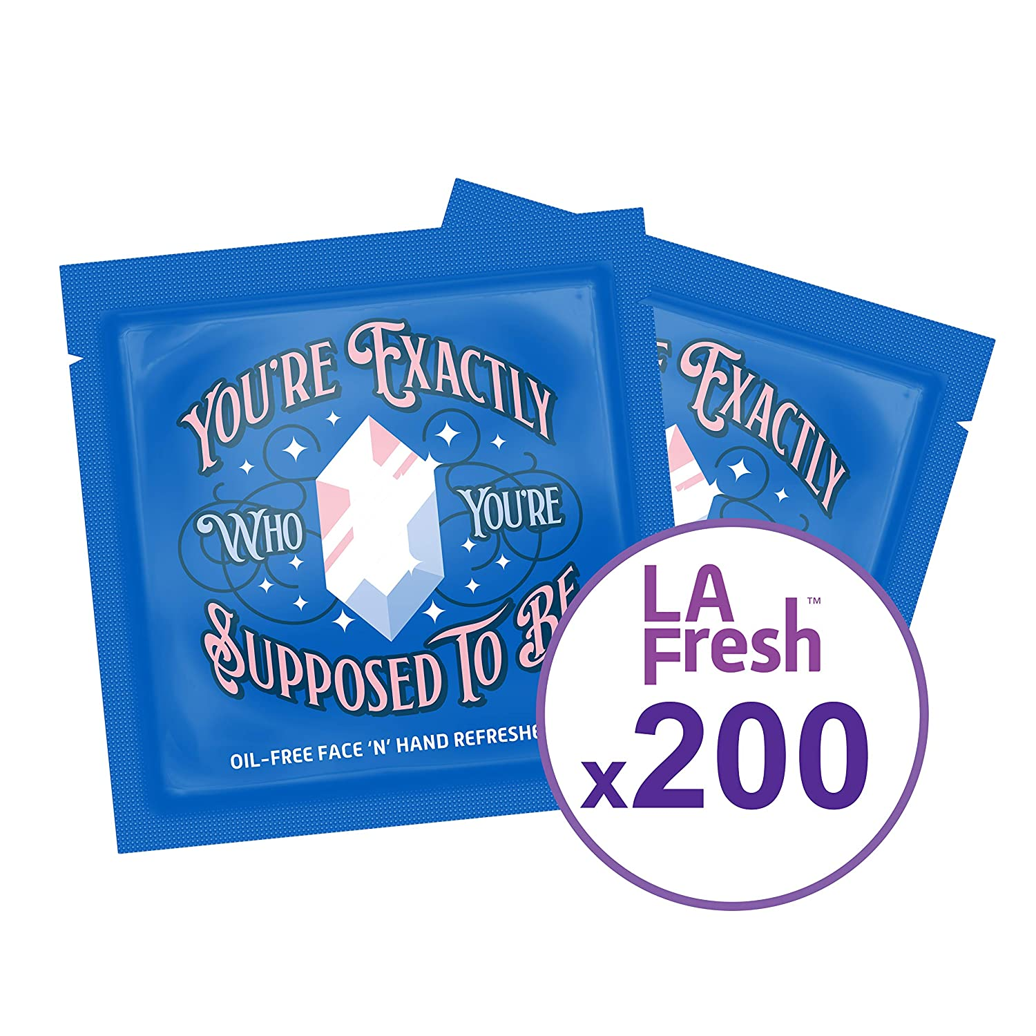 LA Fresh Oil Free Face and Hand Refreshing Wipes, individually sealed wrapper, Japanese Yuzu Scent - Bulk Buy Pack of 200