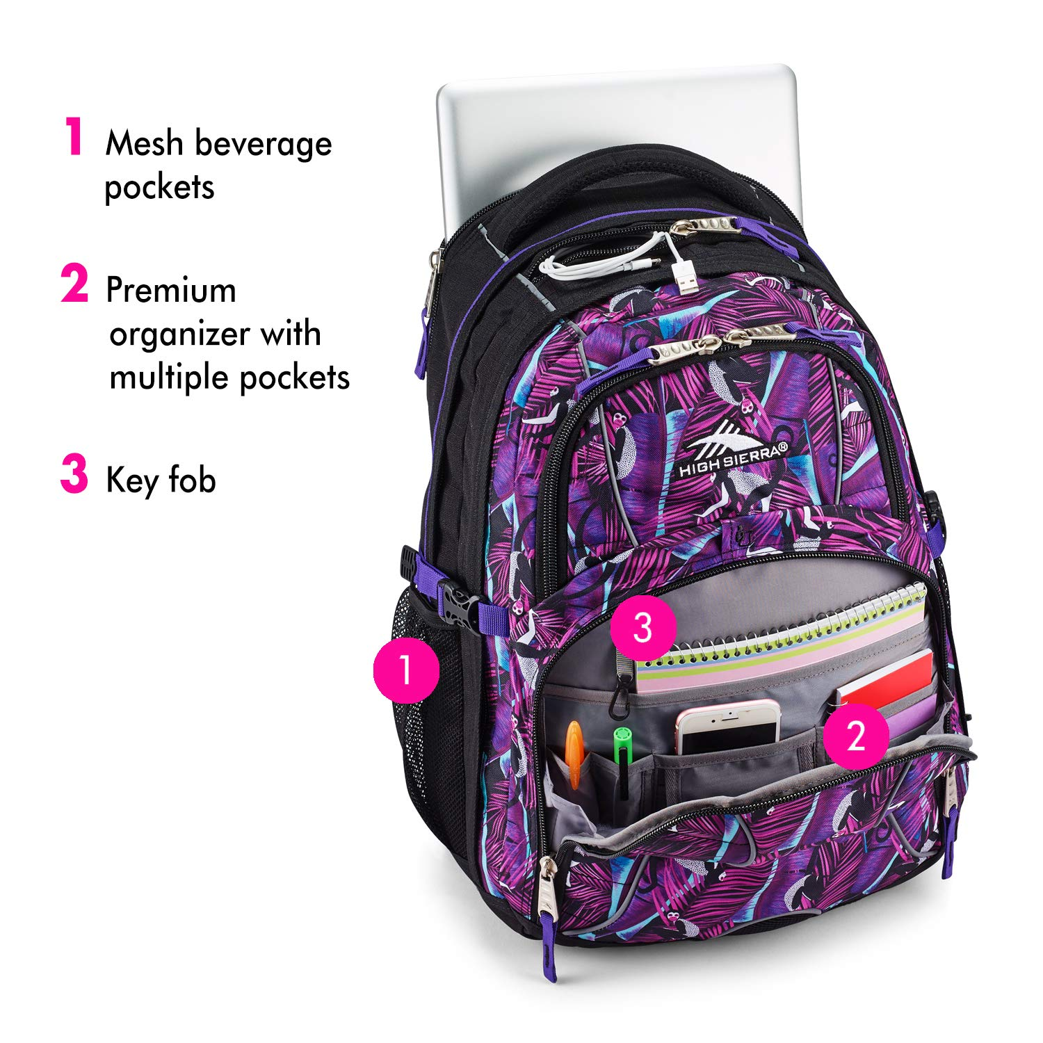 High Sierra Swerve Laptop Backpack, 17-inch Laptop Backpack for High School or College, Ideal Gaming Laptop Backpack, Large Compartment Student Laptop Backpack with Organizer Pocket by High Sierra (Image #3)
