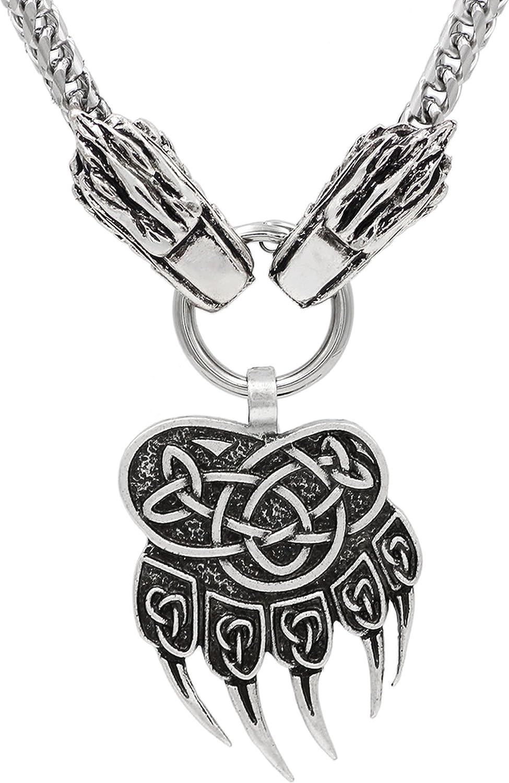 marteau de Thor Mjolnir Collier en acier inoxydable avec pendentif en relief style viking pa/ïen scandinave steampunk Fenrir motif patte dours t/ête de loup nordique
