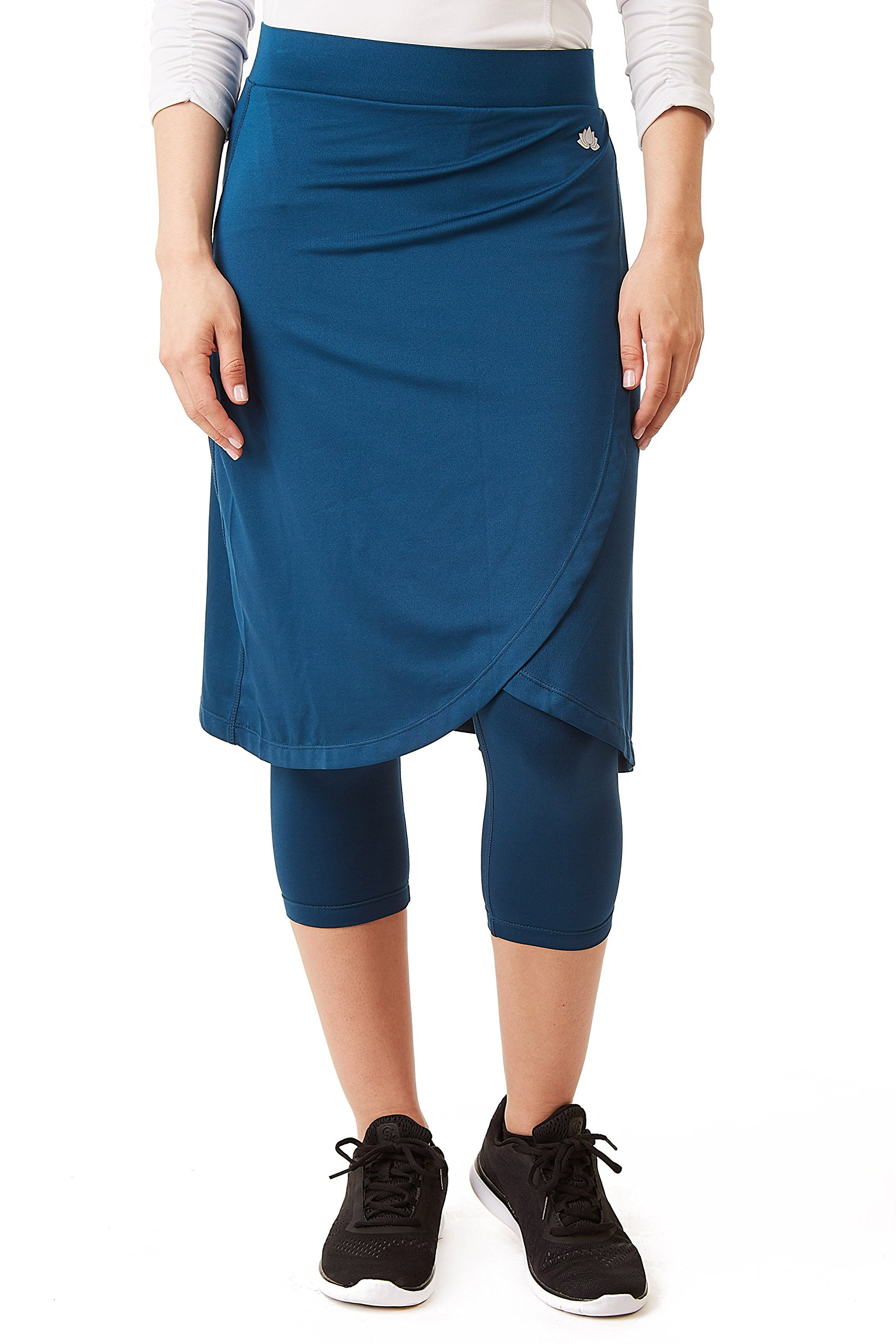 Snoga Modest Workout Faux Wrap with 3/4 Length Leggings Attached - Blue, XS