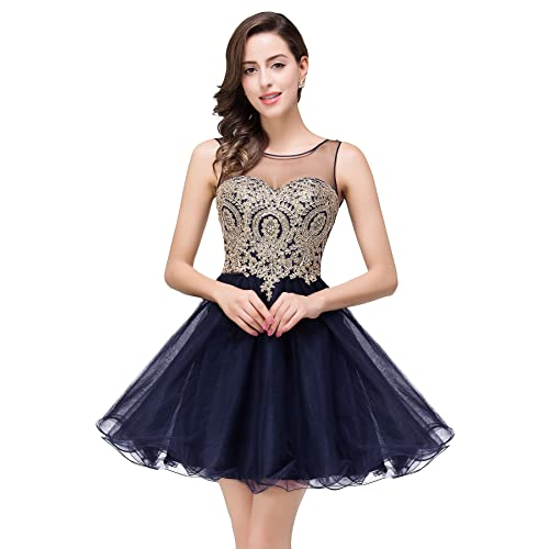 MisShow Women Lace Applique Rhinestone A Line Short Bridesmaid Homecoming Cocktail Dress