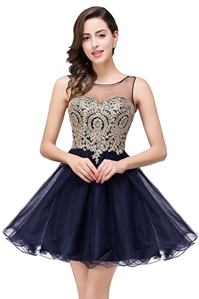 Babyonline negro corto Homecoming vestido Applique cuentas noche Prom Vestido de fiesta azul azul marino 36