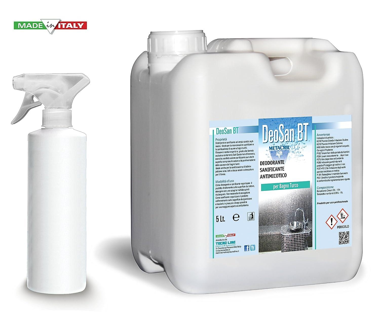 Detergente e Sanificante per il Bagno Turco (Hammam) - DEO SAN BT 5 Litri + Flacone vaporizzatore per la ricarica. Spedizione IMMEDIATA Tecno Line sas