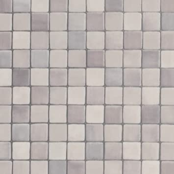 PVC Bodenbelag Steinoptik | Fliesenoptik Mosaik grau | 200, 300 und 400 cm  Breite | Meterware, verschiedene Größen | Größe: 1,5 x 2 m
