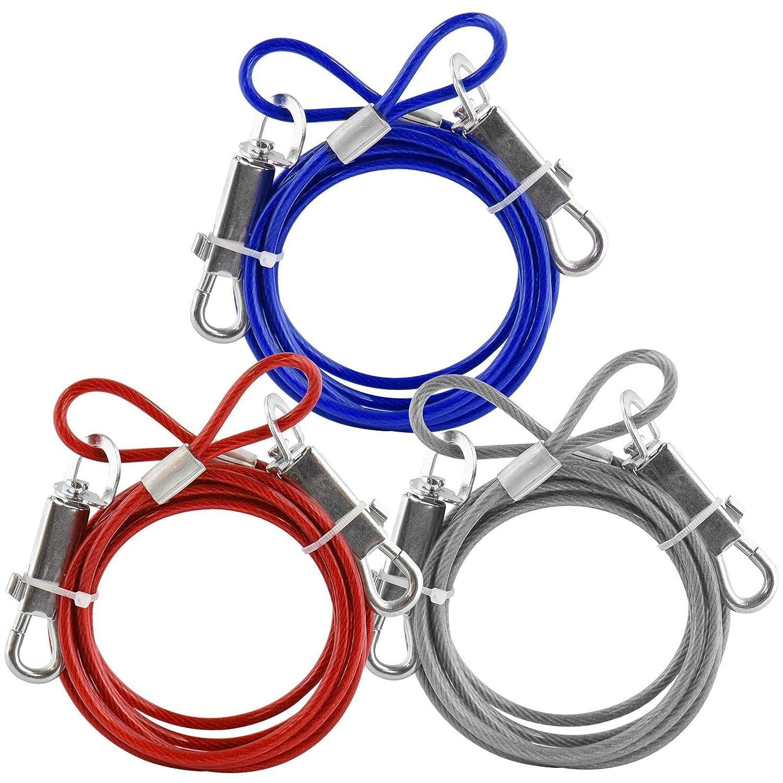 color plateado 6/ft metal revestido de PVC Cable Tie-Out perro mascota jard/ín azul color rojo