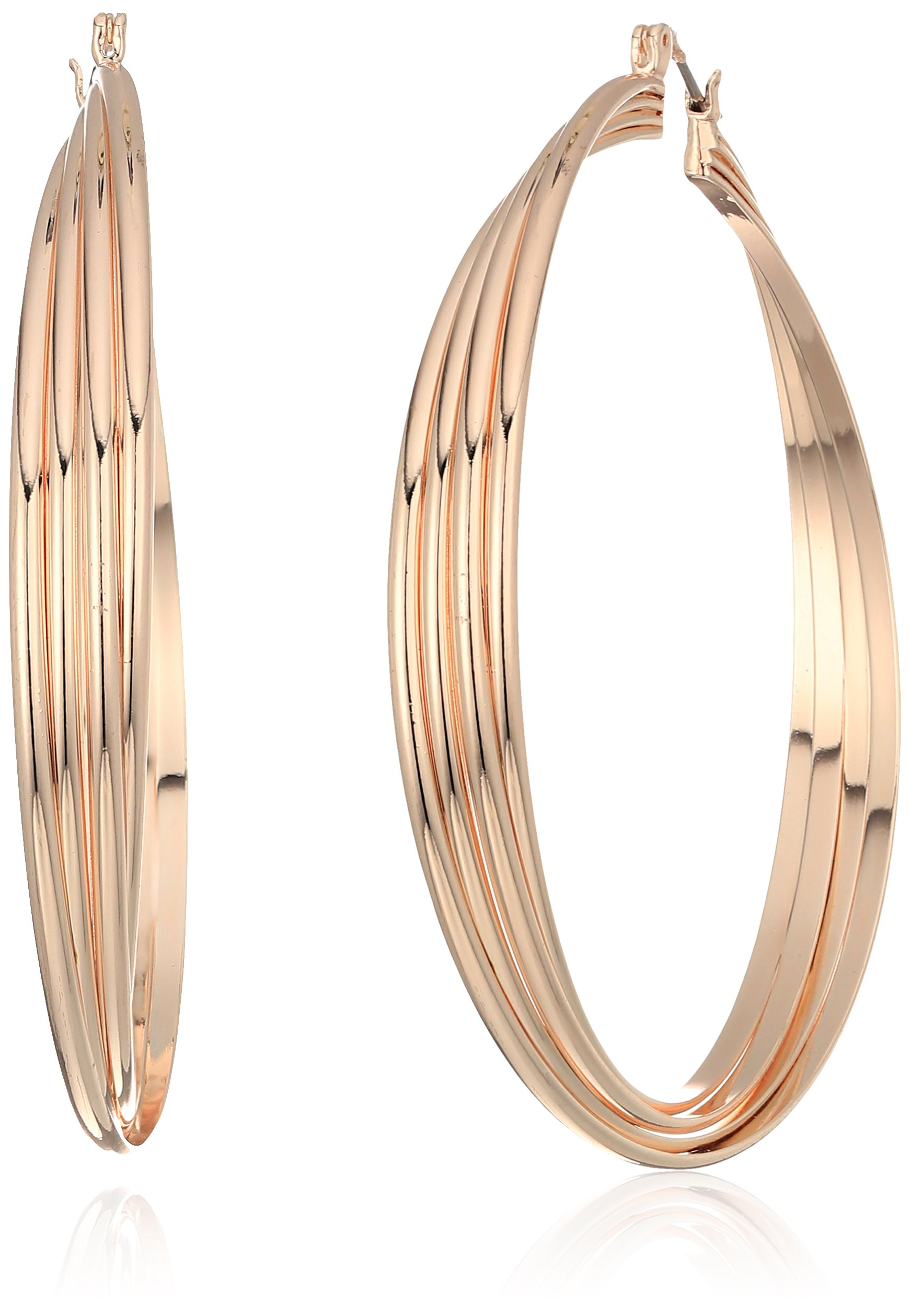 Kenneth Cole New York Womens Extra Large Trinity Rings Rose Gold Twisted Hoop Earrings