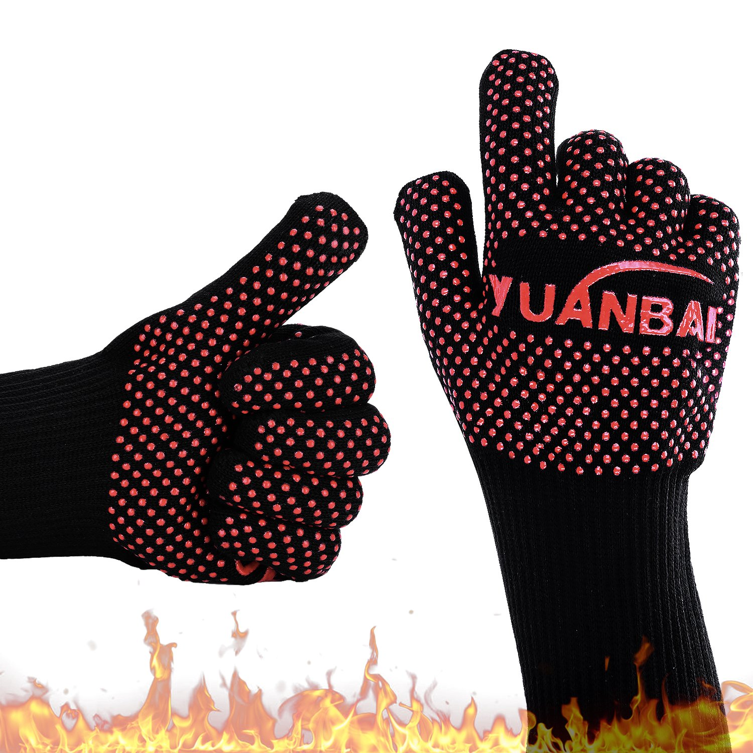 YUANBAI,BBQ Grilling Gloves Heat Resistant Oven Mitts Heat Resistant up to 662°F(350°C for The Grill, Oven, Fireplace, Baking Cakes, Barbecuing Ribs, Frying Fish or Grilling Steak and More