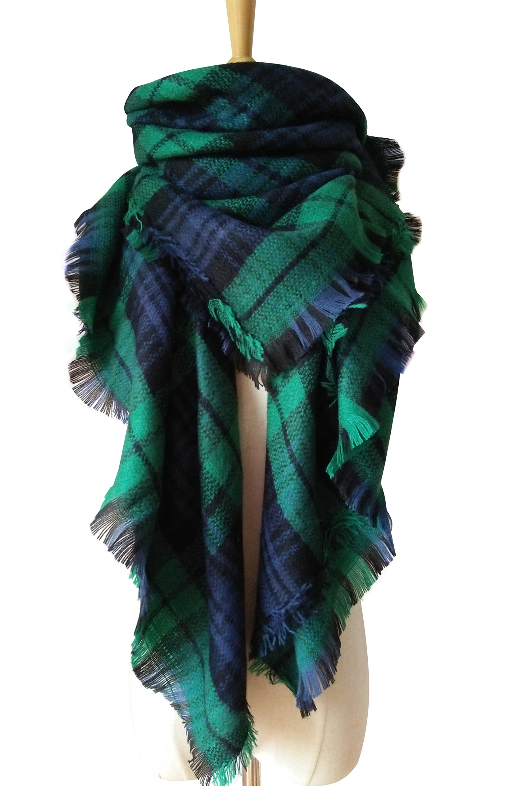 MOTINE Tartan Blanket Scarf Stylish Winter Warm Pashmina Wrap Shawl for Women (Green)
