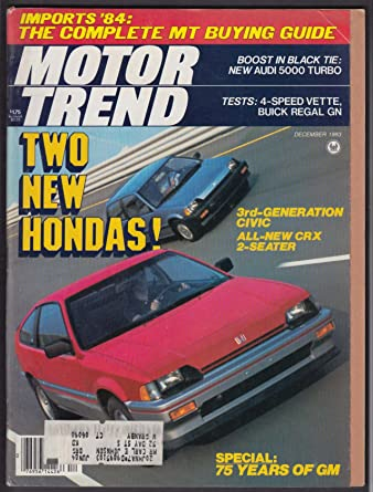 MOTOR TREND 1984 Audi 5000 S Turbo Corvette Buick Regal road tests + 12 1983 at Amazons Entertainment Collectibles Store